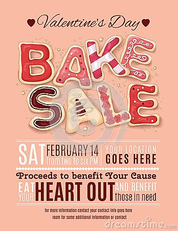 Valentines Day Bake Sale flyer template AC in 2019 Bake sale