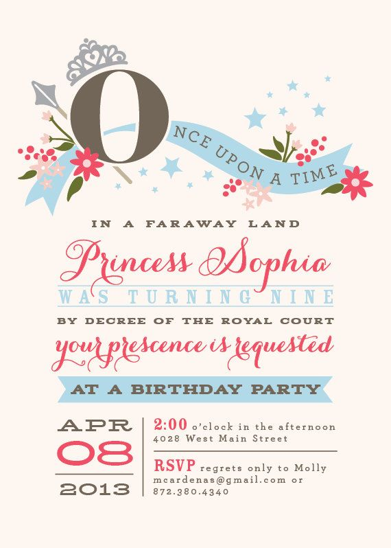 Princess Birthday Party Invitations 20 00 Via Etsy Places To