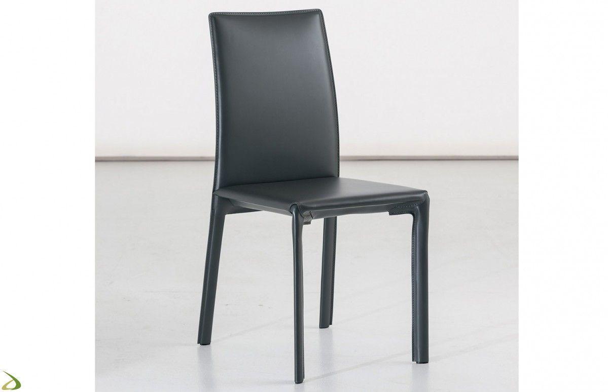 Sedia da soggiorno in cuoio Alpina | Arredo Design Online ...