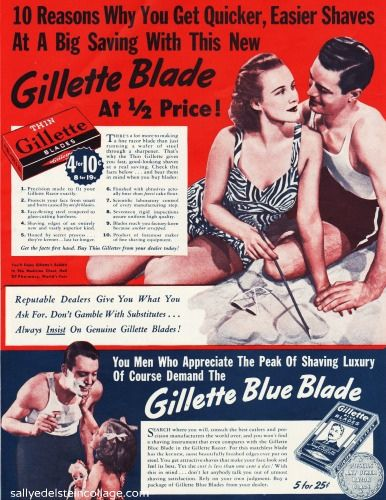 Gillette Ad (1939)  | Vintage Ads | Gillette blade, Shaving