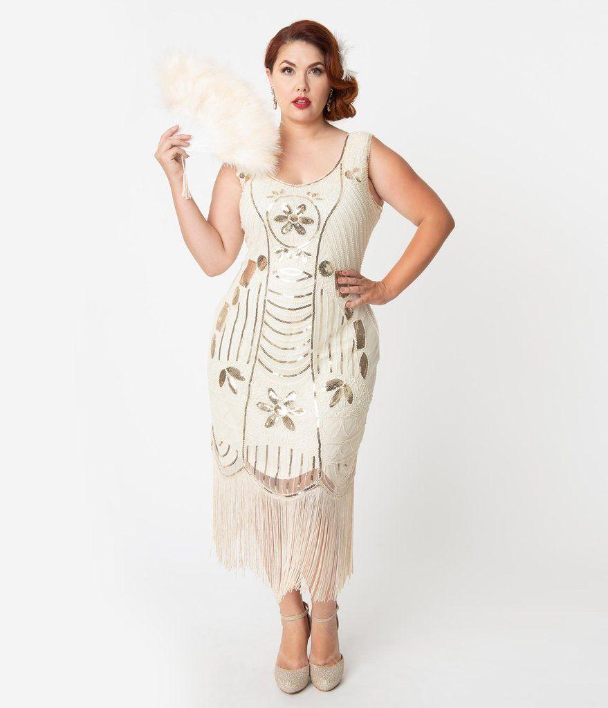 Plus Size Cream & Gold Sequin Fringe Cremieux Flapper