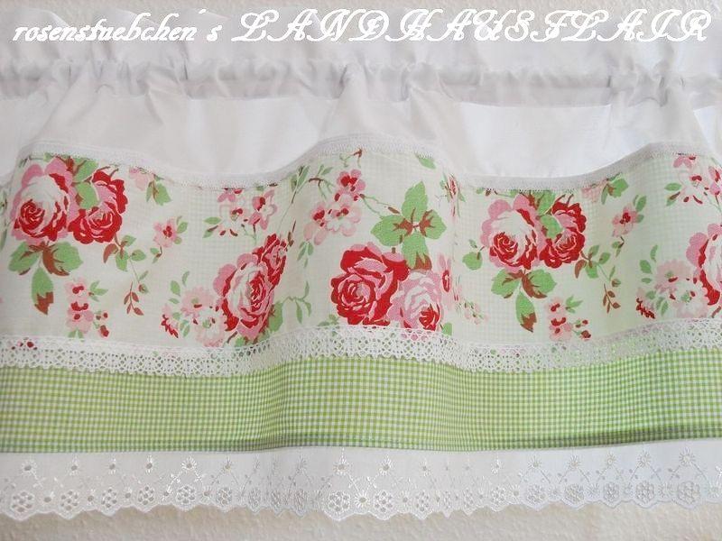 Gardinen - ♥Rosen♥Landhausgardine♥grün♥LOCHSTICKEREI♥SPITZE - ein Designerstück von rosenstuebchen bei DaWanda