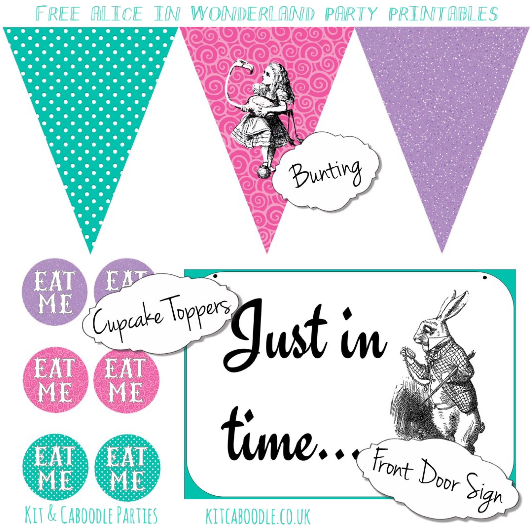 Kit Caboodle Kids Themed Party Kits And Party Supplies Wonderland Party Alice In Wonderland Party Wonderland Party Printables