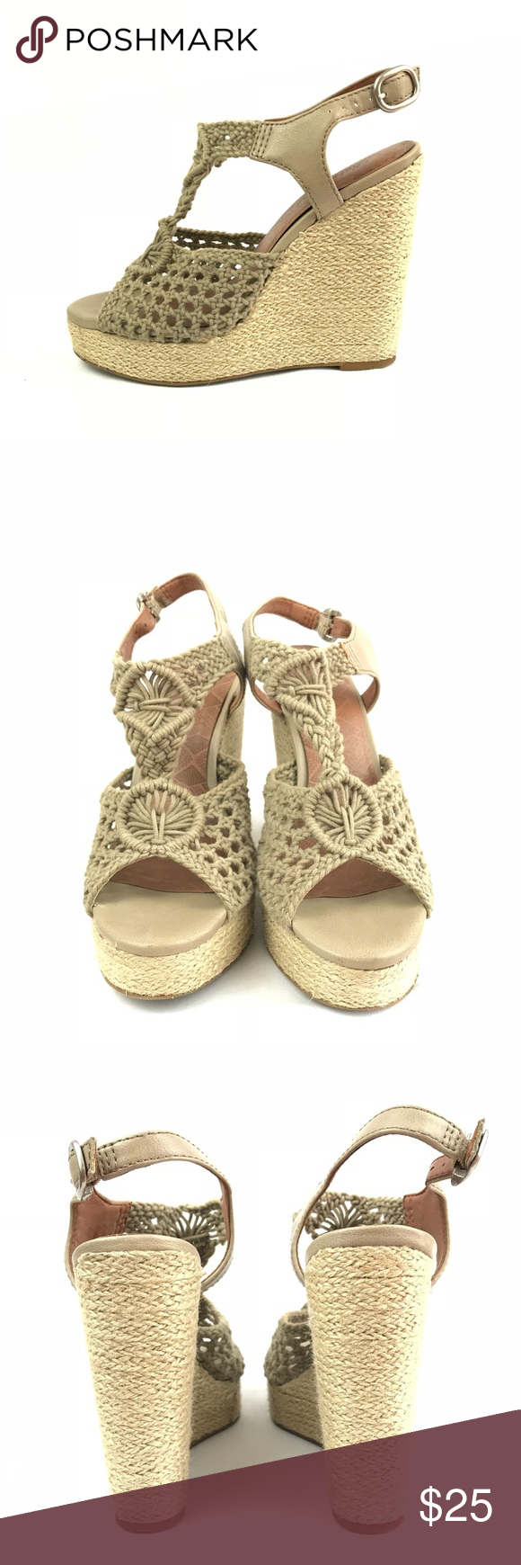 Lucky Brand Mesh Crochet Green Wedge Sandals Cute, comfortable and stylish! Lucky Brand Shoes Wedges