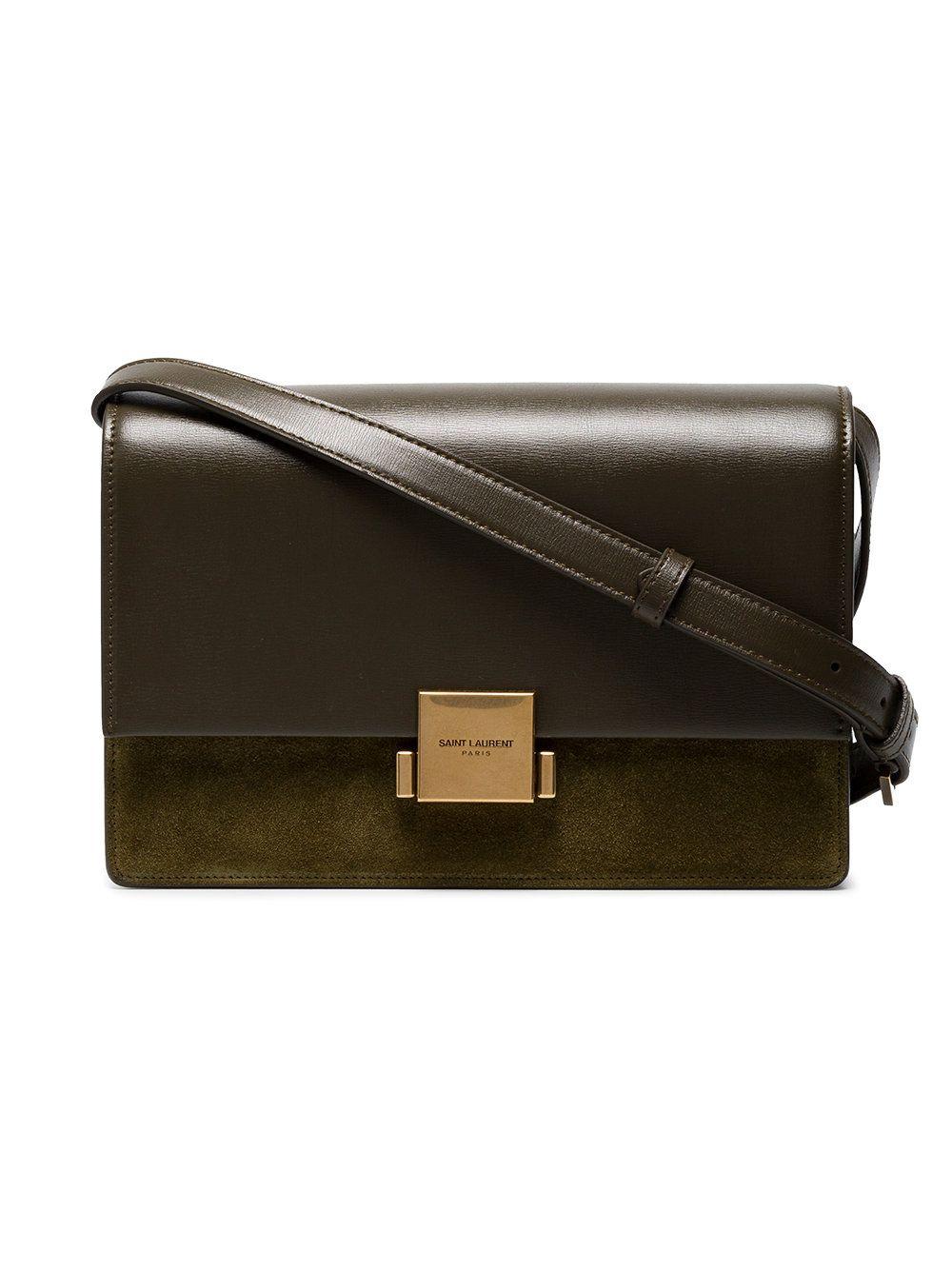 Saint Laurent Green Bellechasse Medium Suede And Leather Satchel ... b73ec527a6df7