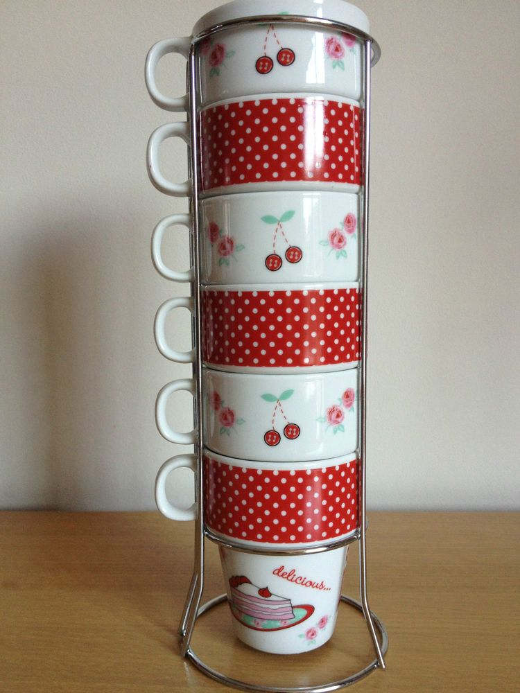 Red 6 Stackable Stacking Mugs Tower Tea Coffee Cup Set Chrome