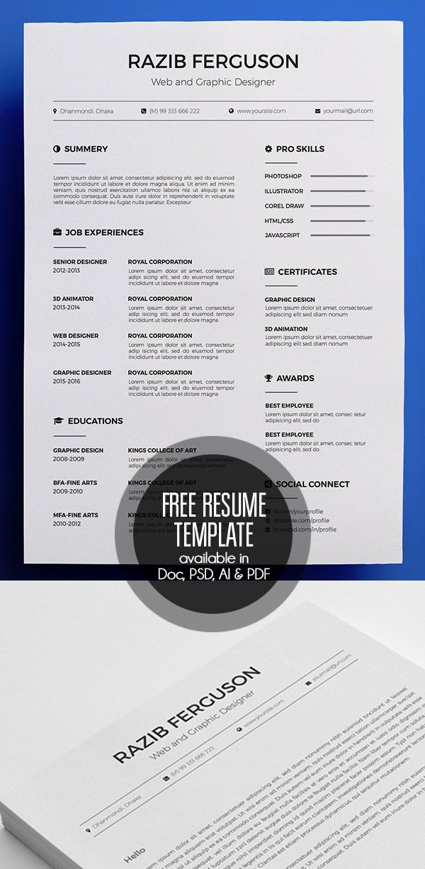 Free Resume Template available in Doc, PSD, AI  PDF Resume