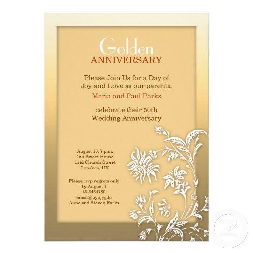 Golden Wedding Anniversary Invitation Zazzle Com Golden Wedding Anniversary Invitations Golden Anniversary Invitations Anniversary Invitations