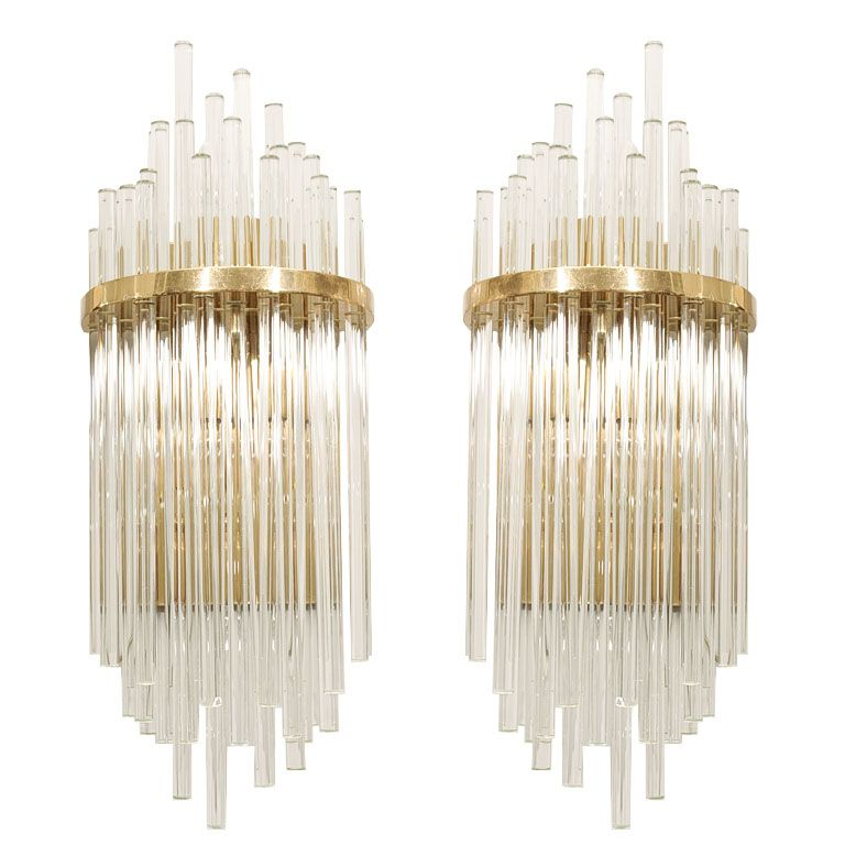 Tall Glass Wall Sconces : Pair of Custom Large Glass Rod Sconces Murano glass, Modern wall and Glass