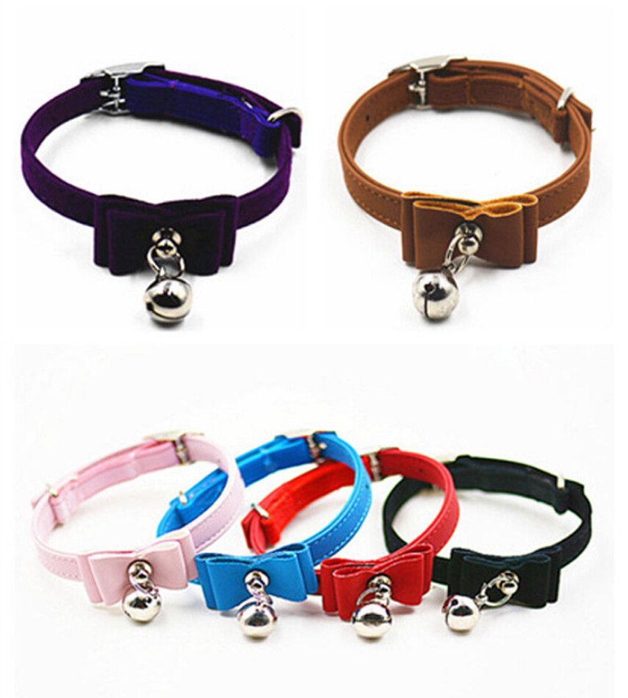 Pet Collar Solid Color Cat Collar With Bell Collection Bowknot Adjustable Dog Puppy Necklace Pet Dog Cat Home Outdoor Leather Kitten Collars Pack Leather