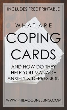 Coping Cards | Anxiety reduction | Pinterest | Counseling