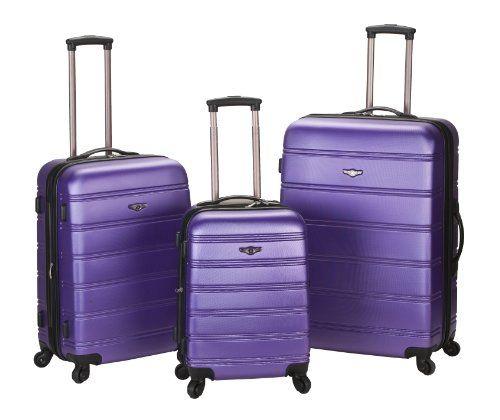 Rockland Luggage Melbourne 3 Piece Abs Luggage Set, Purple, Medium ...