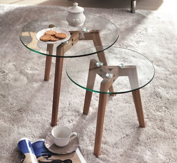 Colombini Casa Modern Indian Style glass top coffee table with wood