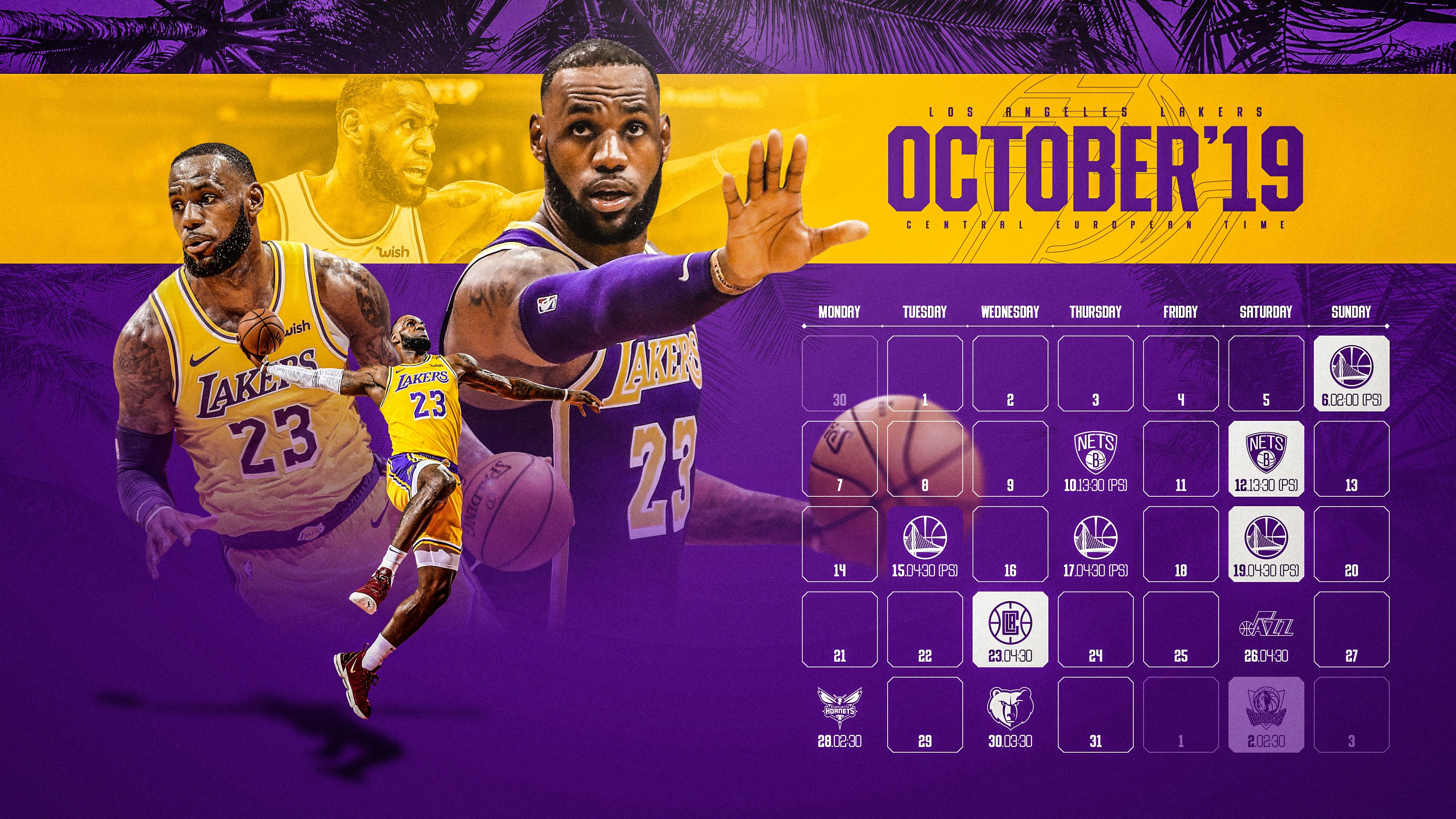 Schedule Wallpaper For The Los Angeles Lakers Regular Season 2019 20 Game Times Are Cet Made By Gergo Tobler Aka Tge Los Angeles Lakers Nba League La Lakers