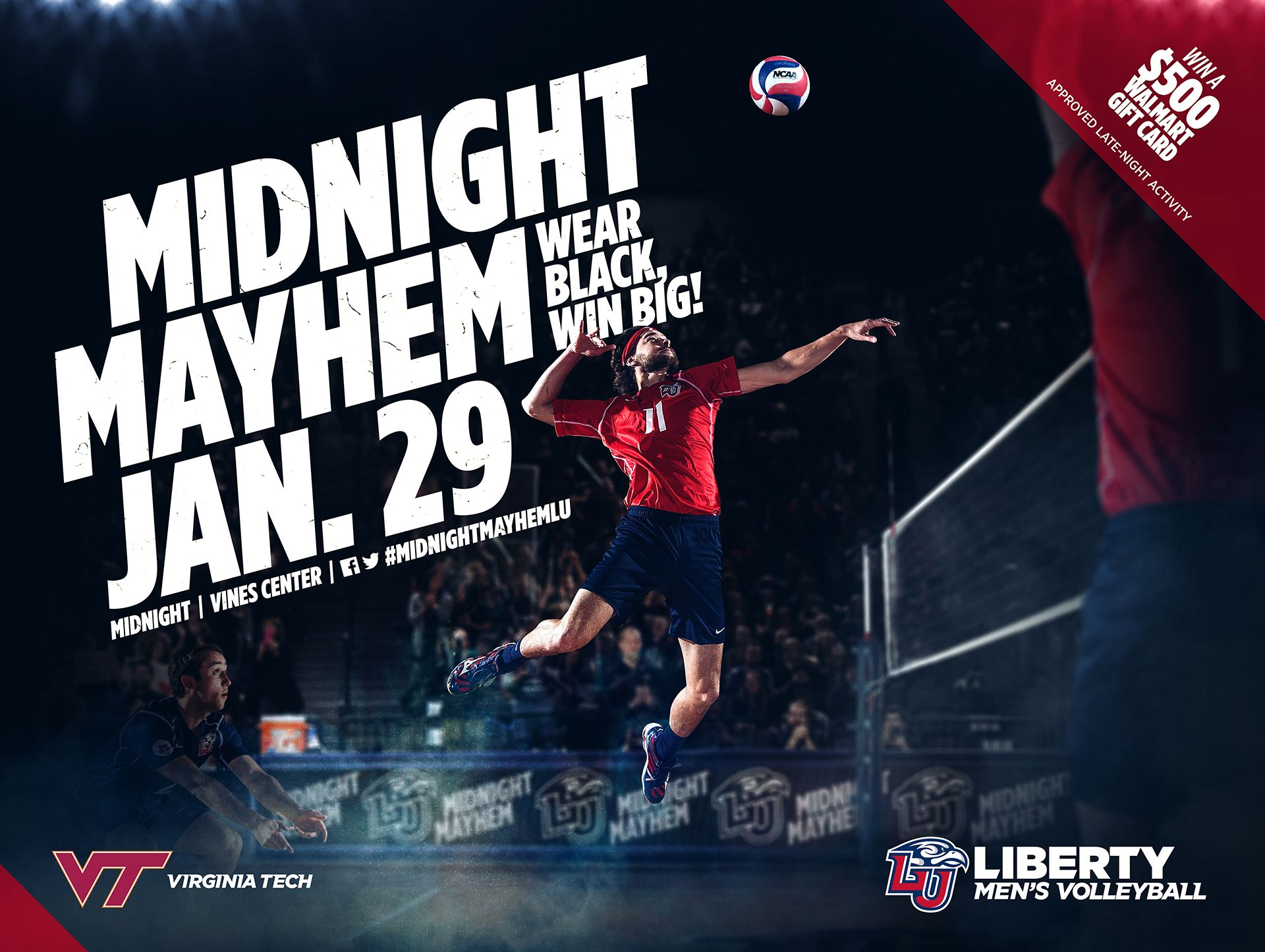 Here Is Another Poster To Advertise Men 39 S Volleyball Midnight Mayhem They Will Play A M Sports Graphic Design Sports Design Inspiration Sports Advertising