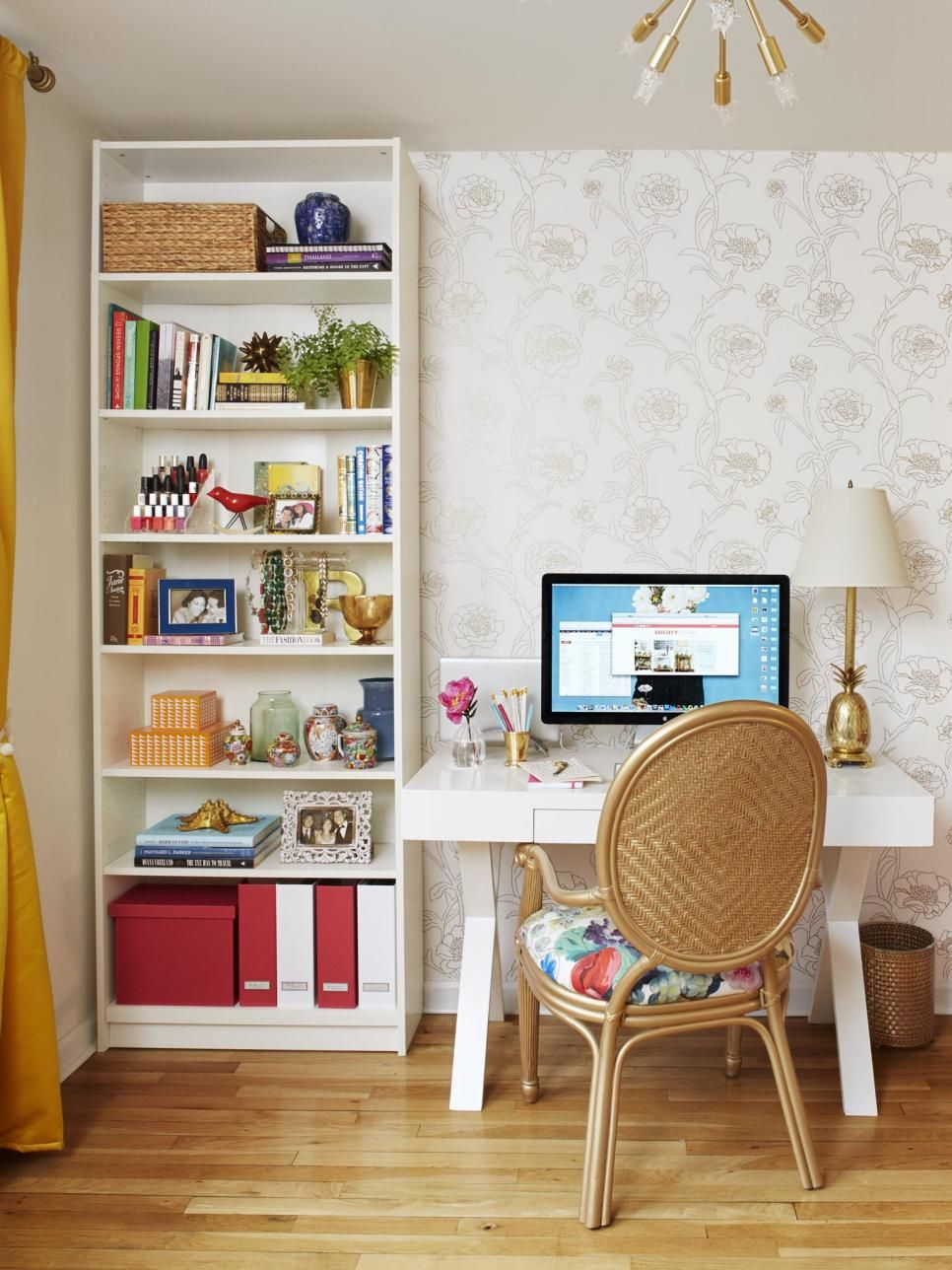 An 8 Foot Wide Wall In Roxy And Alanu0027s Bedroom Serves As A Workspace. The  Lacquered Desk From World Market And Curvy Gold Chair With A Floral Seat  Are ...