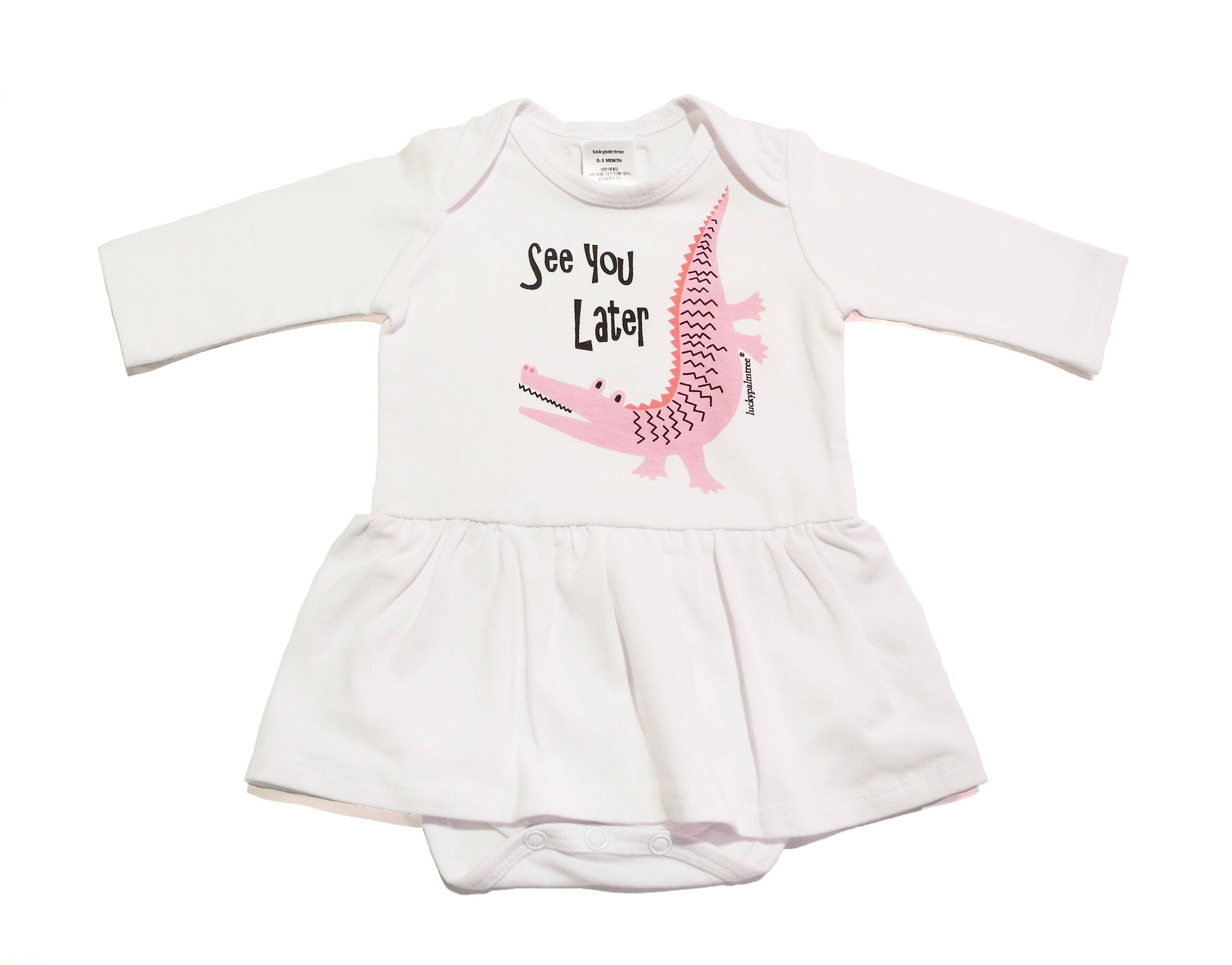 Organic pink alligator dress onesie hand screened unique baby t