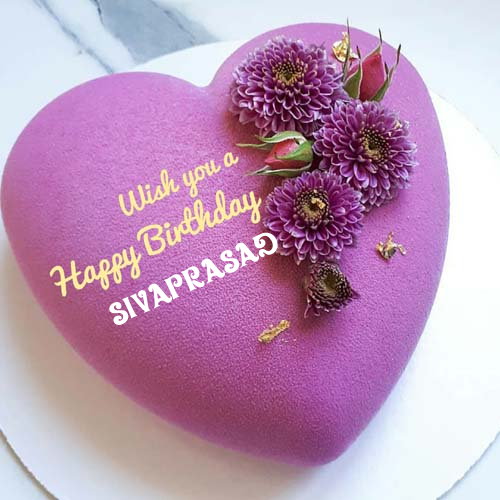 Heart Shaped Birthday Wishes Cake With Name On It