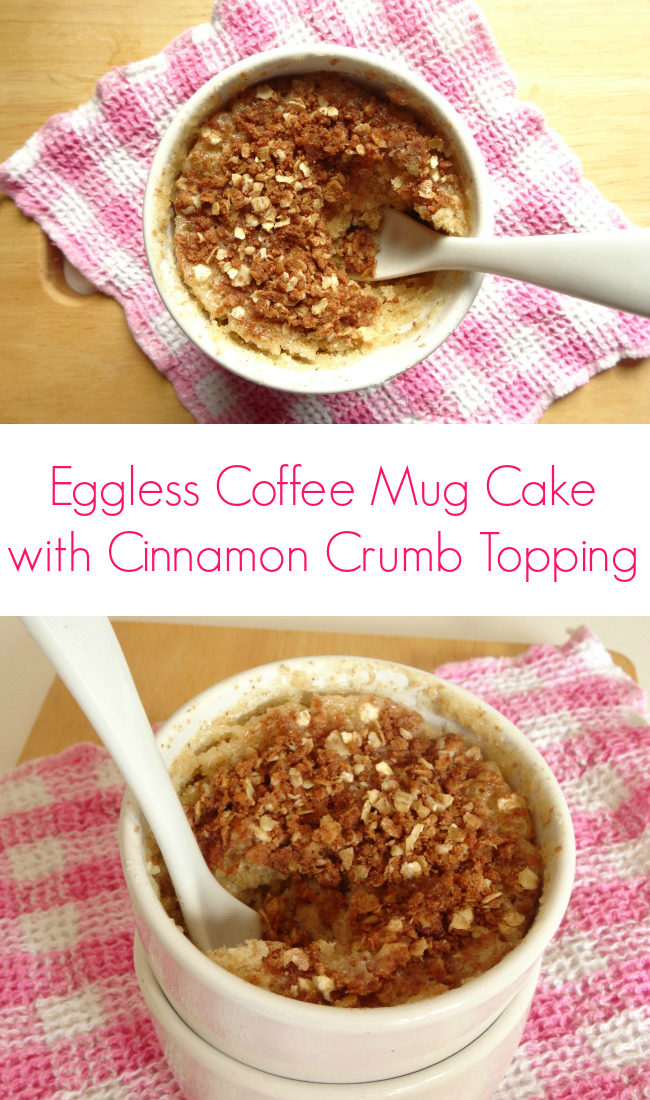 Eggless Microwave Coffee Mug Cake with Cinnamon Crumb