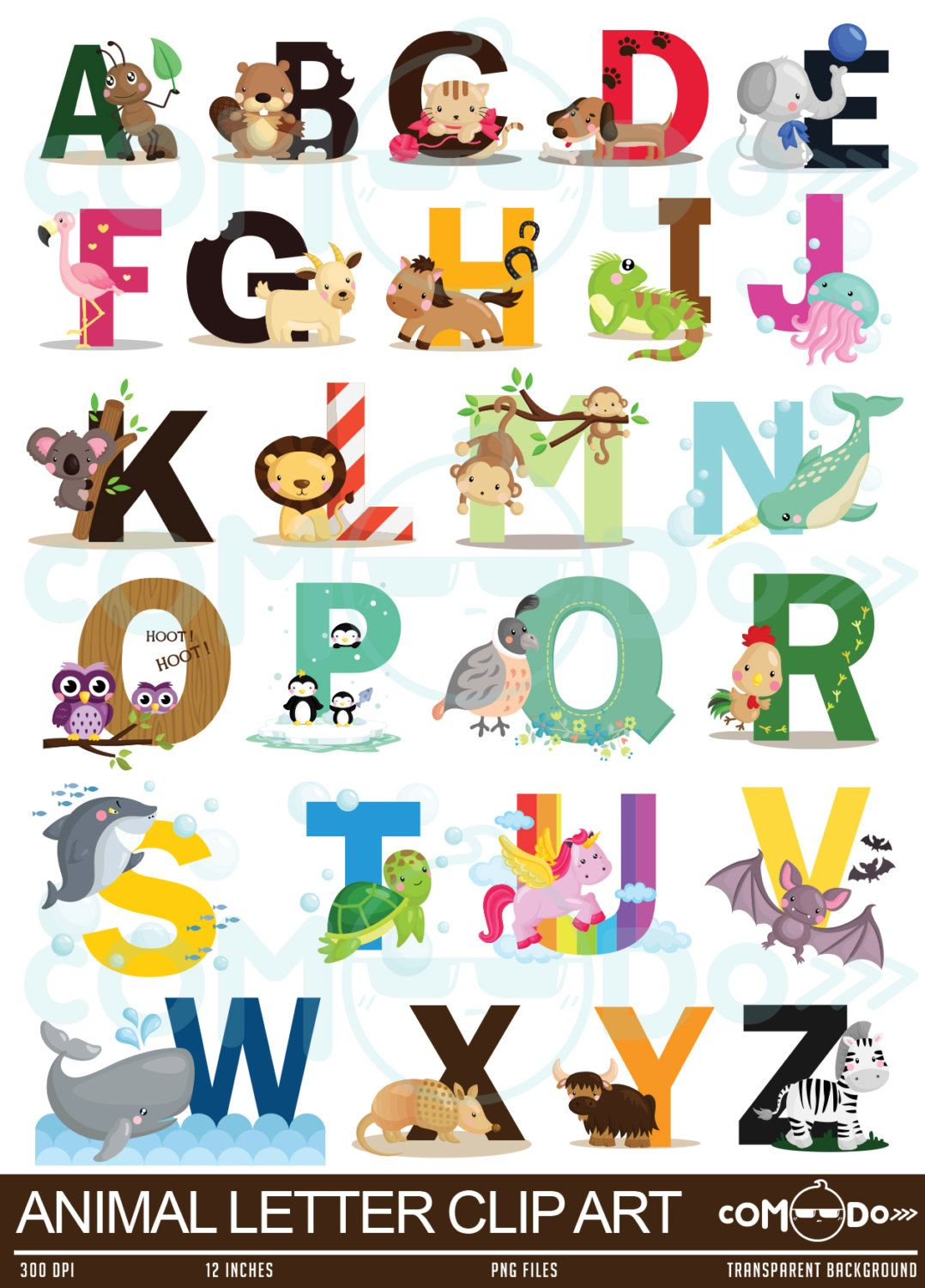 Animal Alphabet Clipart Education And Learning Clip Art School