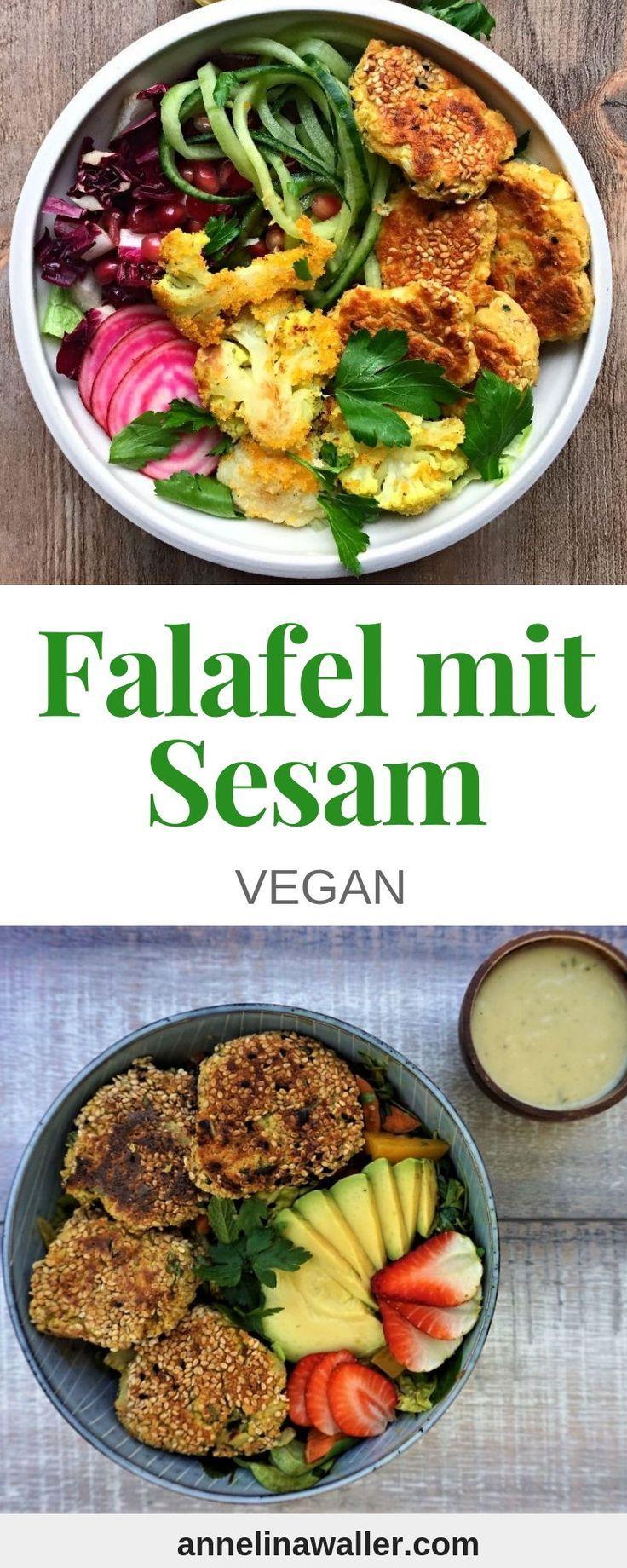 Einfache Ölfreie Falafel mit Sesam #veganerezeptemittag