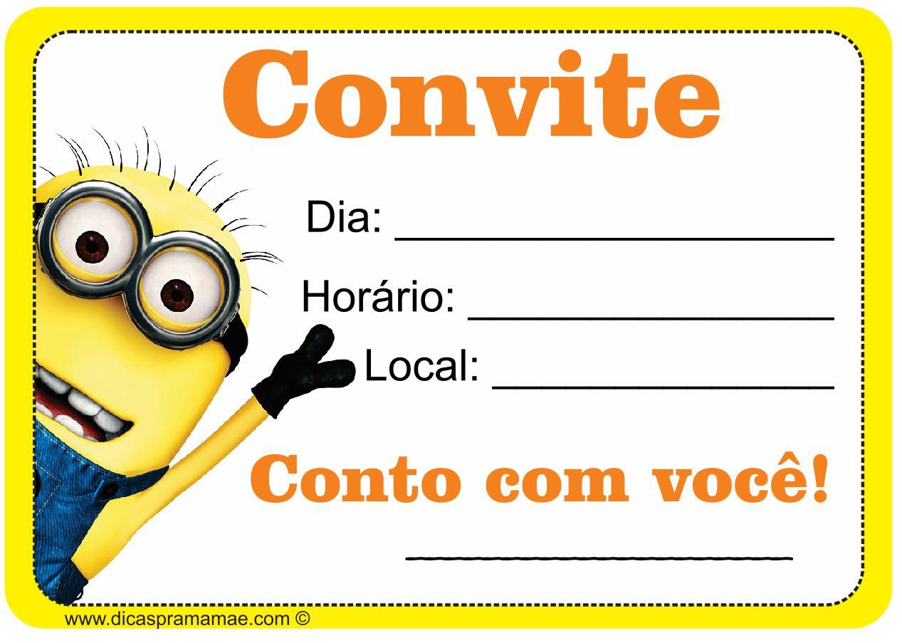 Convite Dos Minions Para Baixar Aniversário Renan Minion Party