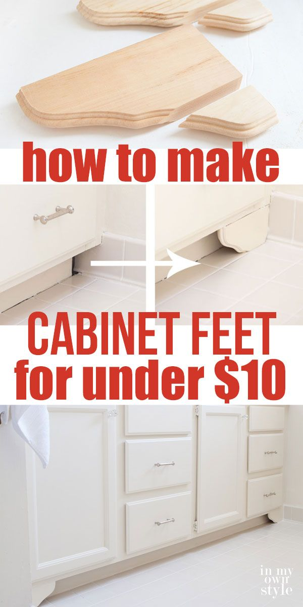 Kitchen And Bathroom Cabinet Hacks. How To Make DIY Decorative Wood Feet  For Bathroom Or Kitchen Cabinets Using Inexpensive Pine Corbels Or Shelf  Brackets.