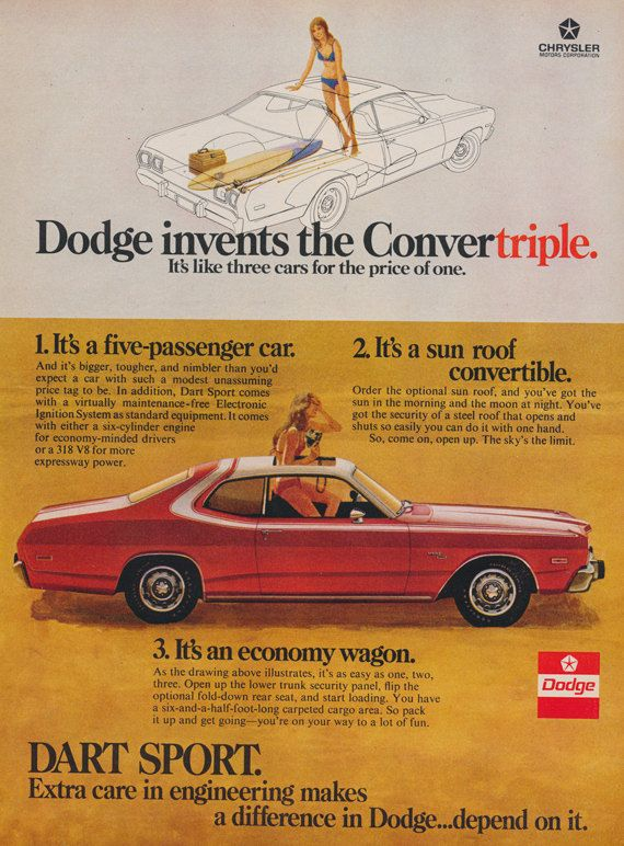 1972 Dodge Dart Sport Convertriple Car Ad Red Sunroof Convertible Photo Vintage Advertising Print Wall Art Decor Dodge Dart Dodge Vintage Cars