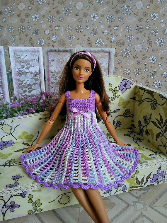 Barbie clothes Dress GalactikaMagicThread: Barbie fashion doll dress crochet #dollhats