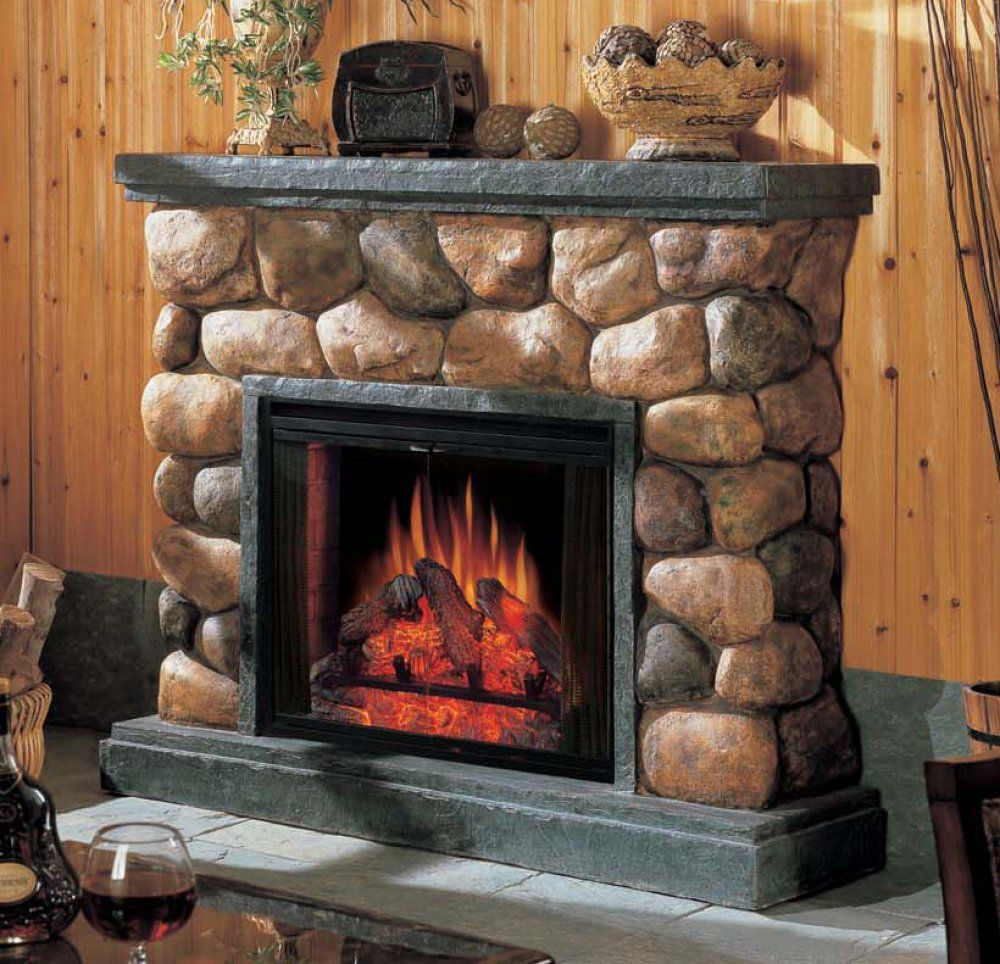 River rock fireplace pictures - Fireplaces Pictures Electric Fireplace By Classic Flame In Faux River Rock