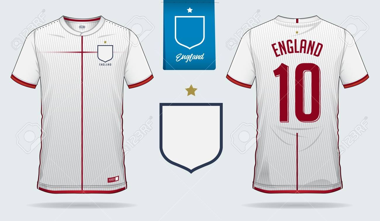 Set Of Soccer Jersey Or Football Kit Template Design For England National Football T In 2020 England National Football Team Football Kits Soccer Clothing And Equipment
