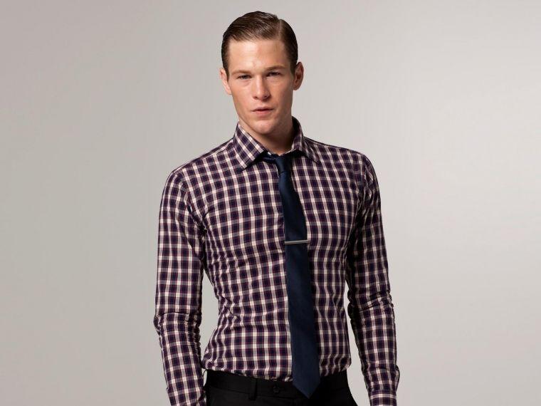 Purple dress shirt with black tie