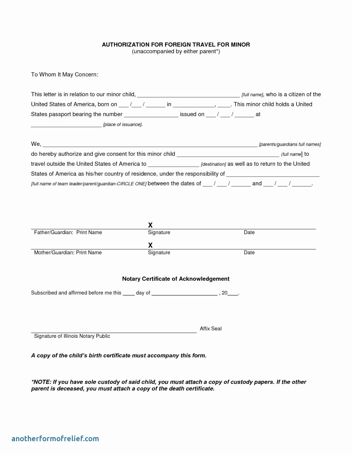 Notarized Letter Template Word Fresh Notarized Travel Consent Letter Template Collection Travel Consent Letter Consent Letter Travel Consent Form