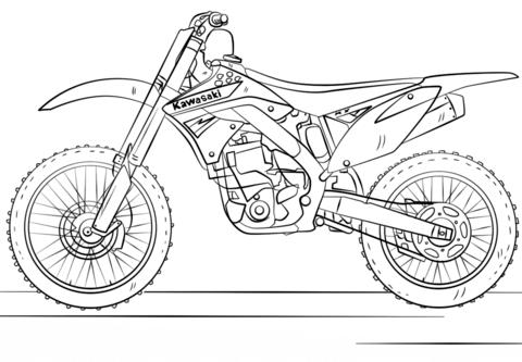 Kawasaki Motocross Bike Coloring page | Bike drawing ...