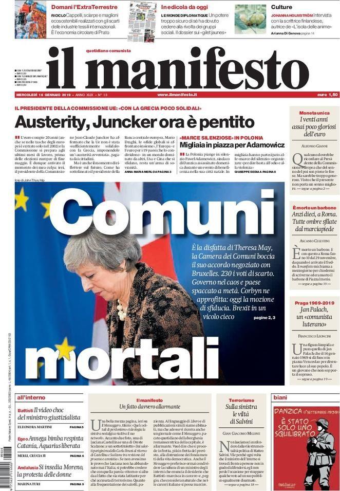 La Rassegna Stampa Del 16 Gennaio 2019 Ecco Le Prime Pagine Dei Quotidiani In Edicola Oggi Stampe Barbone Notizie