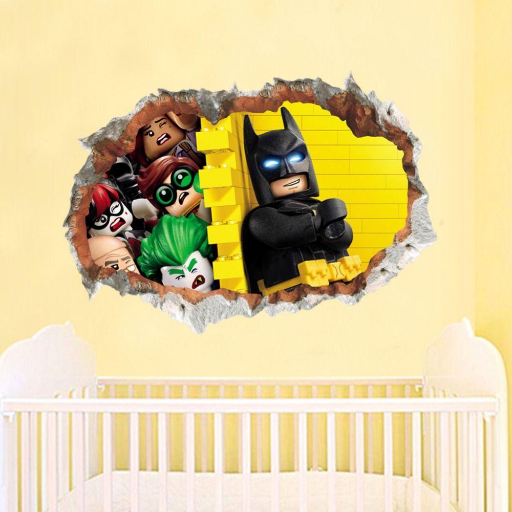 new style Lego Batman Super Heros Broken Wall Stickers Kids Room ...