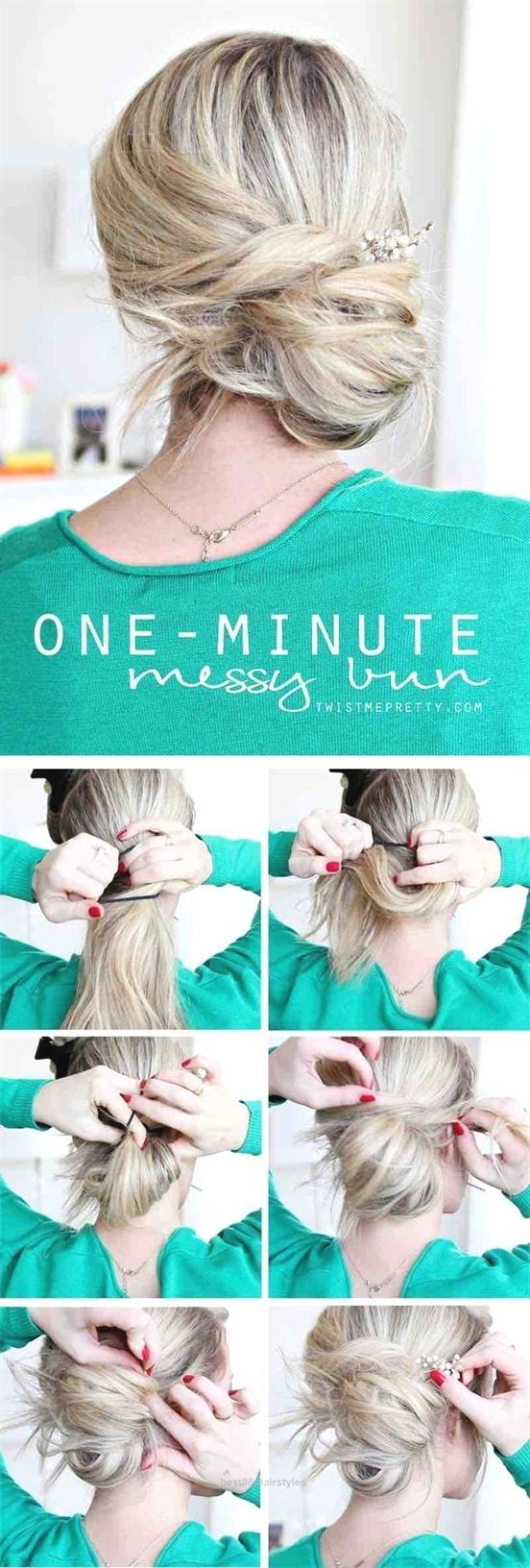 Neat easy hairstyles for work u one minute messy bun u quick and
