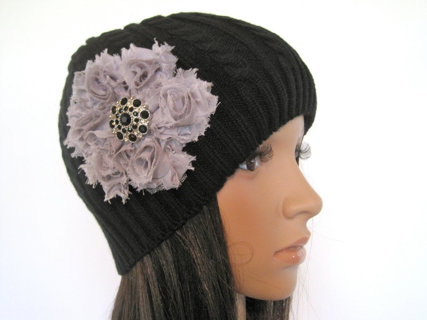 55570ede015 Black Cable Knit Women s Beanie Skull Cap with a Gray Flower and Matching  Black Accent Winter Hat and Accessories Women s Hats by theraggedyrose on  Etsy