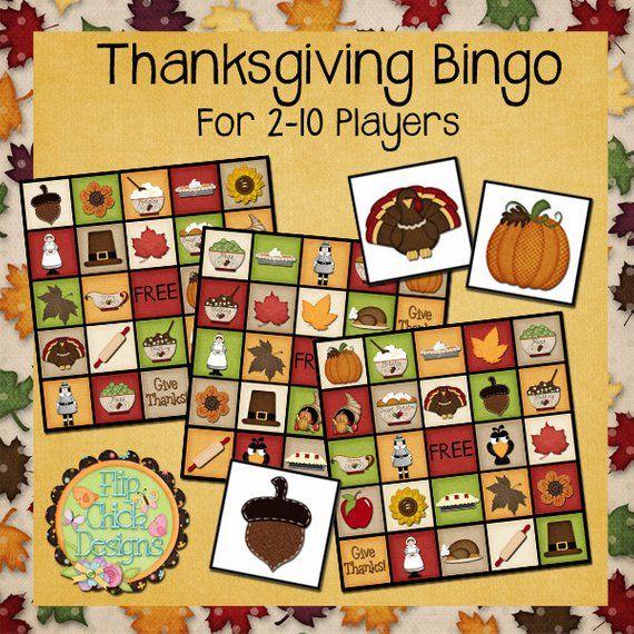 Printable Thanksgiving Bingo   Etsy