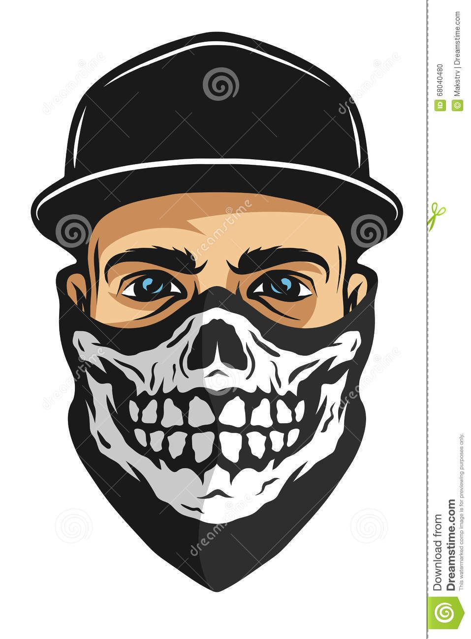 A Guy In A Bandana With A Skull Pattern. Stock Vector - Image: 68040480