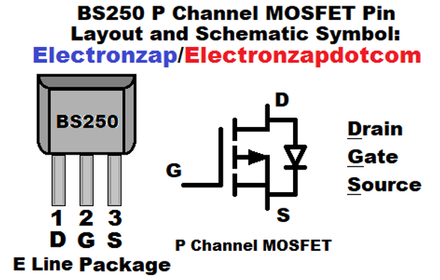 Bs250 P Channel Mosfet Pin Layout And Schematic Symbol Diagram By Electronzap Electronzapdotcom Electronzap On Patreon Symbols Layout Diagram