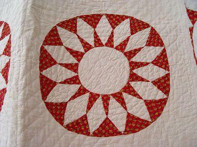 Detail - 1800's Red & White Sunflower Quilt