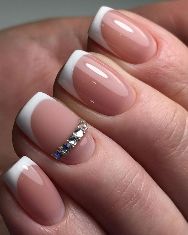 On the matte color of the nail always will nicely stand some shiny detail.  In this case, that is the rhinestones on the ring finger! Source - 45 Chic Classy Nail Designs Nails Nails, Nail Designs, Nail Art