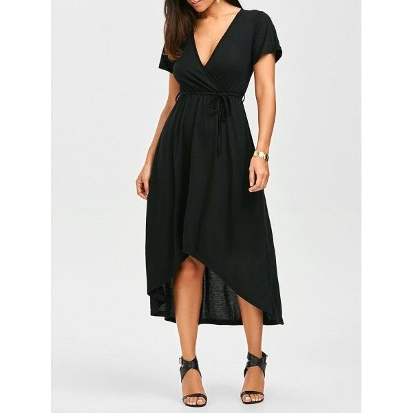Plunging Neck High Low Casual Surplice Dress Black (26 BAM) found on Polyvore featuring women's fashion and dresses