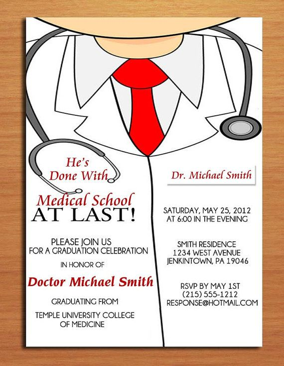 Lab Coat Male   Medical Degree Graduation Party Invitation Cards - farewell party invitation template