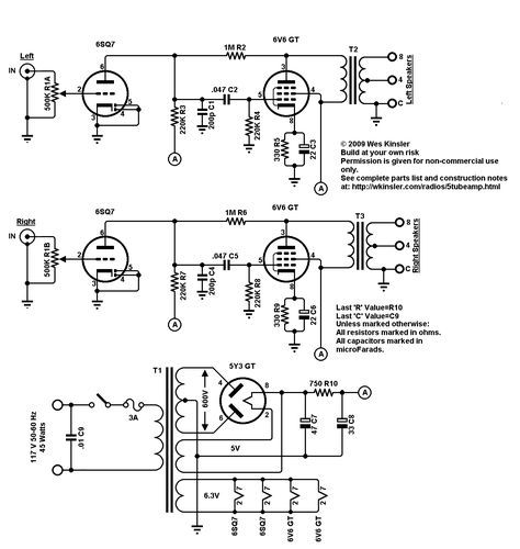 Five Tube Stereo Amplifier Circuit Diagrams Pinterest
