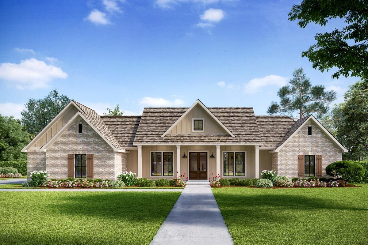 Plan 56443SM: Exclusive Modern Farmhouse with Split Beds ... on Farmhouse Outdoor Living Space id=62487