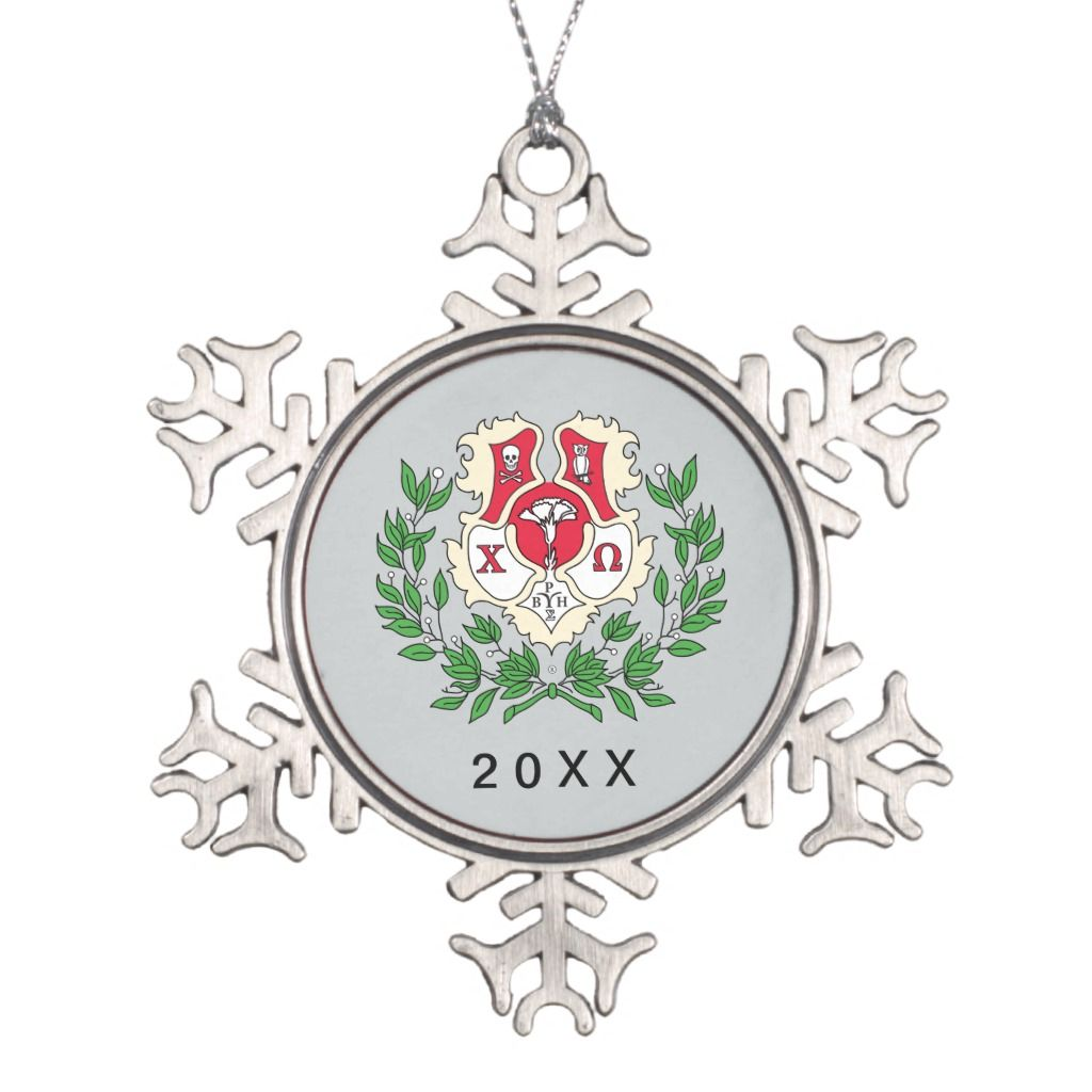 Crest Open On Christmas 2020 Chi Omega Crest Snowflake Pewter Christmas Ornament   Zazzle.