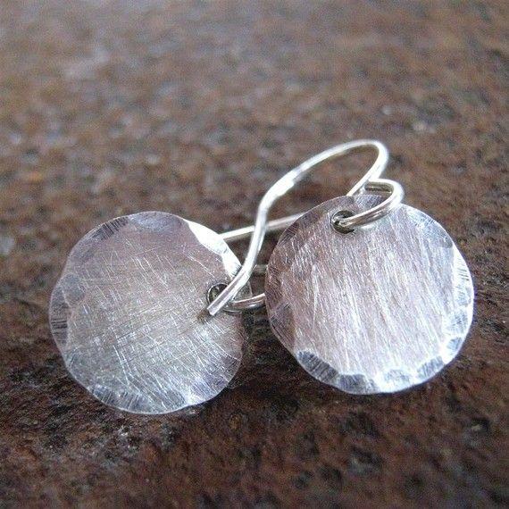 Edged Sterling Silver Earrings Brushed Dot