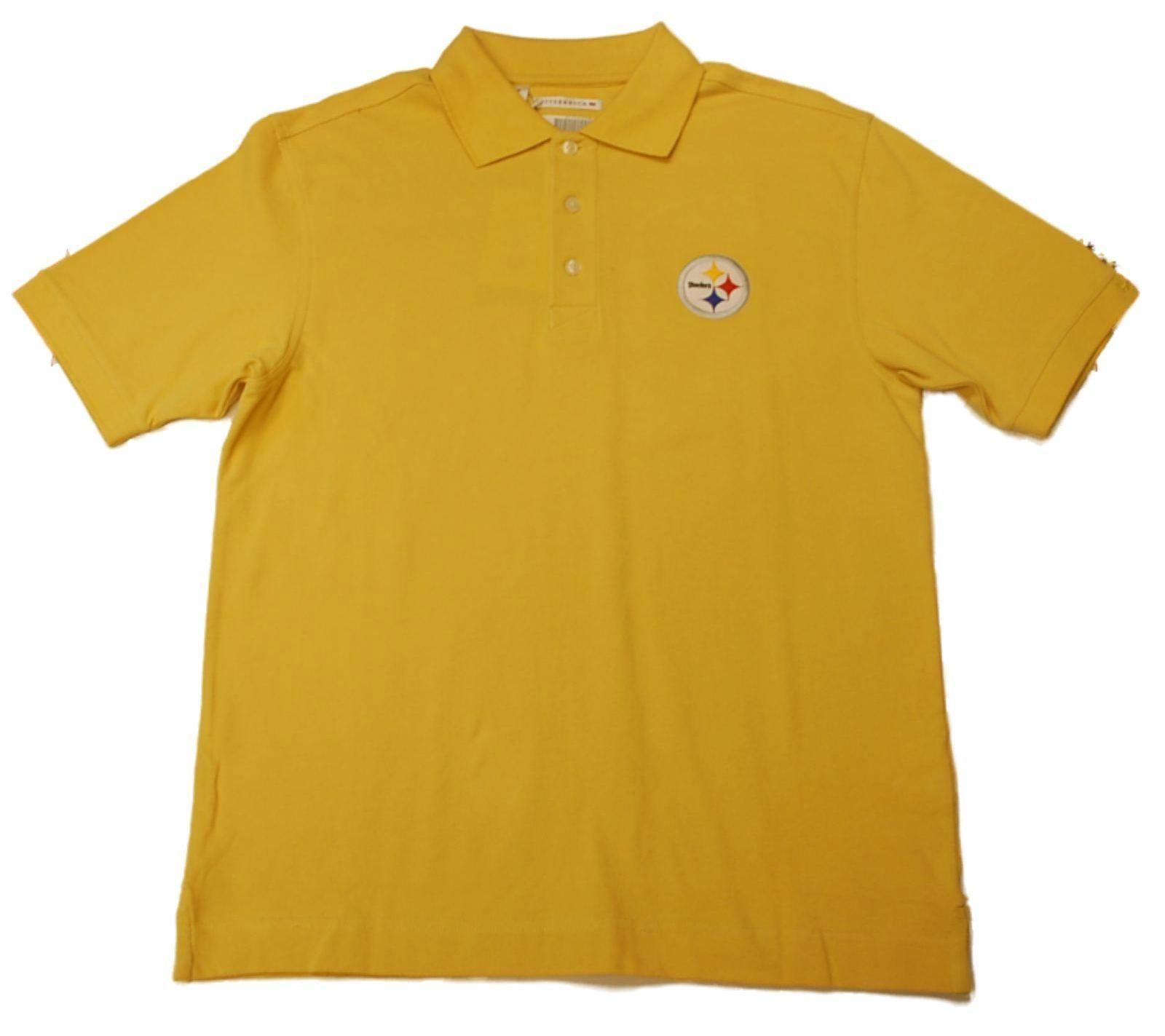 Pittsburgh Steelers Cutter   Buck Yellow Gold Knit Golf Polo Shirt ... 7cc902eff